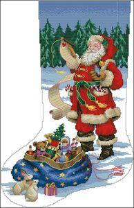 Вышивка крест рождественский сапожок 440