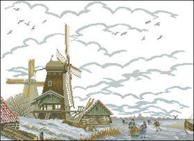 Ветряная мельница зимой-Eva Rosenstand