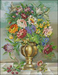 Вышивка цветы в кувшине