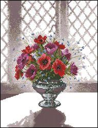 Цветы в серебряной вазе-Heritage