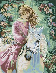 Девушка на лошади-Вышитые картины